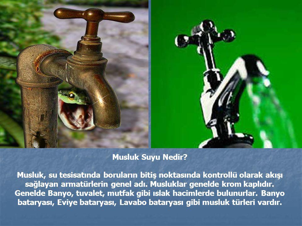 Musluk Suyu Nedir? Musluk, su tesisatında boruların bitiş noktasında kontrollü olarak akışı sağlayan armatürlerin genel adı. Musluklar genelde krom ka