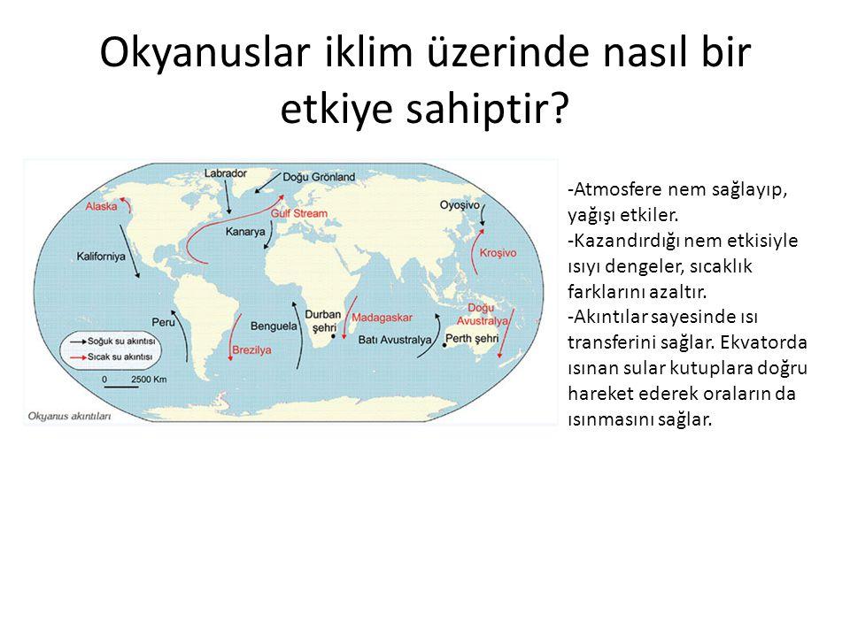 Okyanuslar iklim üzerinde nasıl bir etkiye sahiptir? -Atmosfere nem sağlayıp, yağışı etkiler. -Kazandırdığı nem etkisiyle ısıyı dengeler, sıcaklık far