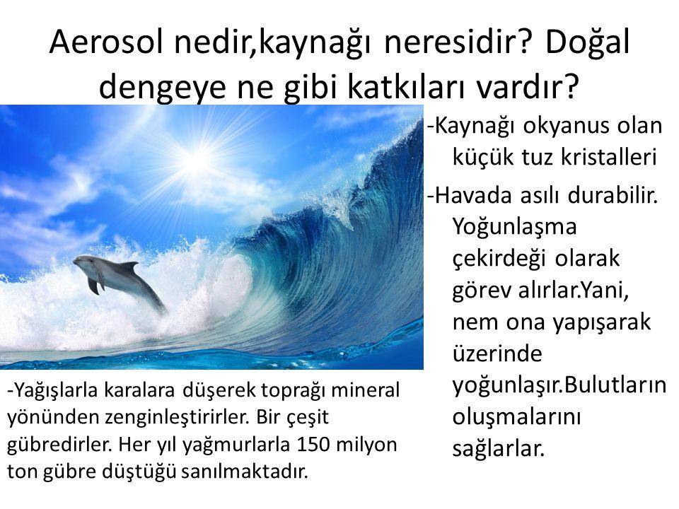 Aerosol nedir,kaynağı neresidir? Doğal dengeye ne gibi katkıları vardır? -Kaynağı okyanus olan küçük tuz kristalleri -Havada asılı durabilir. Yoğunlaş