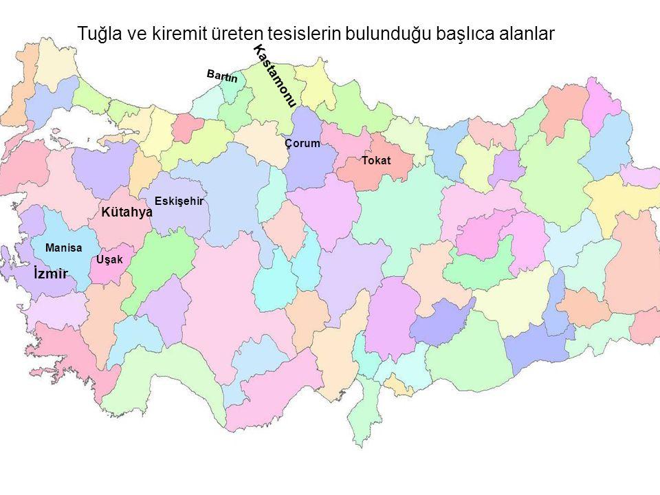 Tuğla ve kiremit üreten tesislerin bulunduğu başlıca alanlar İzmir Kütahya Manisa Uşak Eskişehir Bartın Kastamonu Çorum Tokat
