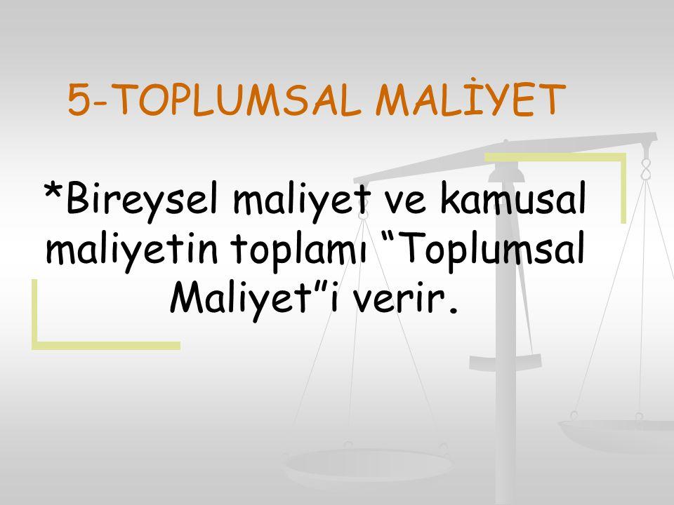 5-TOPLUMSAL MALİYET *Bireysel maliyet ve kamusal maliyetin toplamı Toplumsal Maliyet i verir.