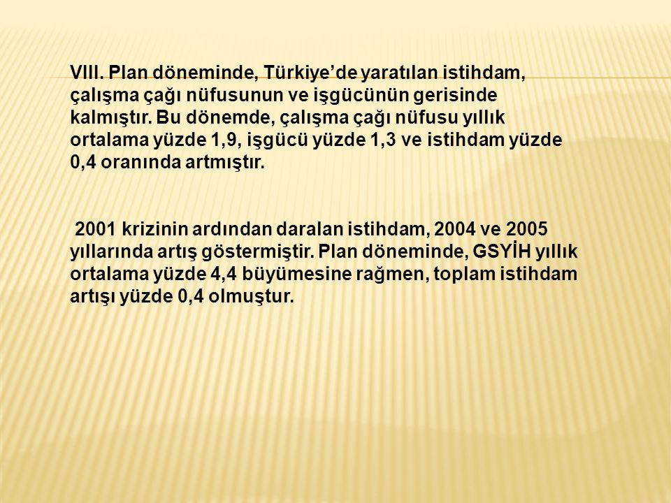 VIII. Plan döneminde, Türkiye'de yaratılan istihdam, çalışma çağı nüfusunun ve işgücünün gerisinde kalmıştır. Bu dönemde, çalışma çağı nüfusu yıllık o