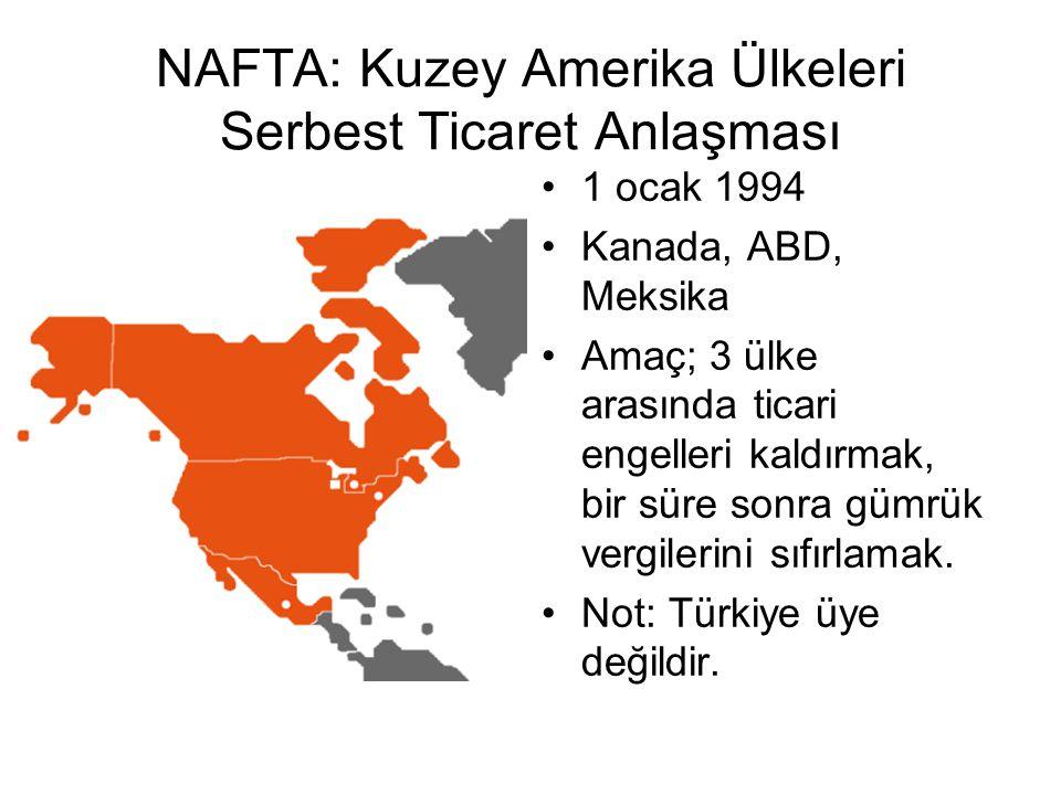 NAFTA: Kuzey Amerika Ülkeleri Serbest Ticaret Anlaşması 1 ocak 1994 Kanada, ABD, Meksika Amaç; 3 ülke arasında ticari engelleri kaldırmak, bir süre sonra gümrük vergilerini sıfırlamak.