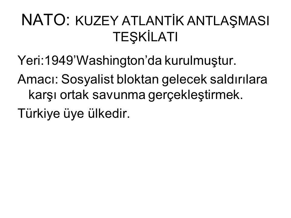 NATO: KUZEY ATLANTİK ANTLAŞMASI TEŞKİLATI Yeri:1949'Washington'da kurulmuştur.