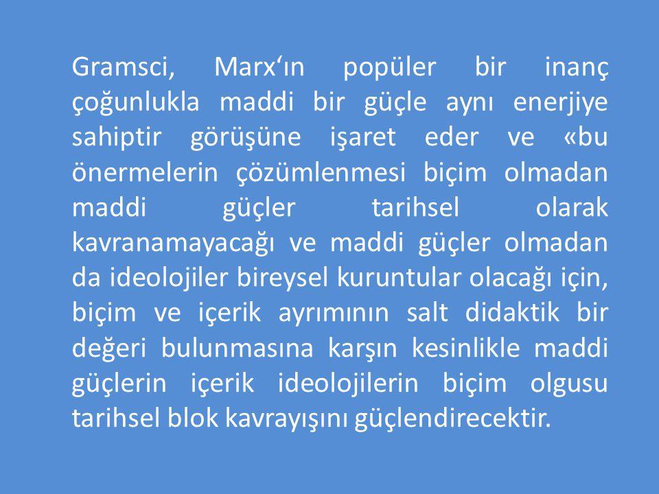 Gramsci, Marx'ın popüler bir inanç çoğunlukla maddi bir güçle aynı enerjiye sahiptir görüşüne işaret eder ve «bu önermelerin çözümlenmesi biçim olmada