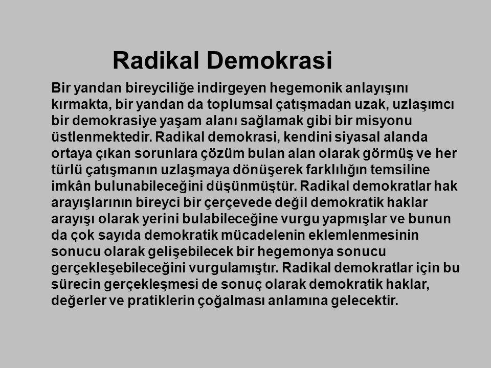 Radikal Demokrasi Bir yandan bireyciliğe indirgeyen hegemonik anlayışını kırmakta, bir yandan da toplumsal çatışmadan uzak, uzlaşımcı bir demokrasiye