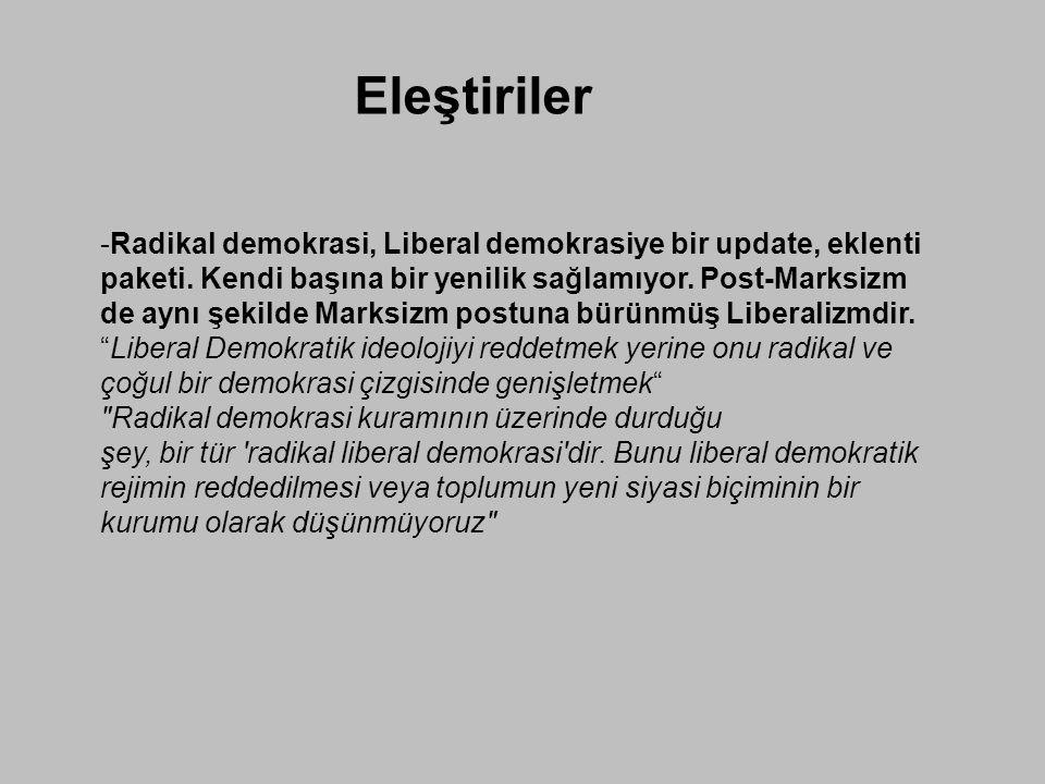 Eleştiriler -Radikal demokrasi, Liberal demokrasiye bir update, eklenti paketi. Kendi başına bir yenilik sağlamıyor. Post-Marksizm de aynı şekilde Mar