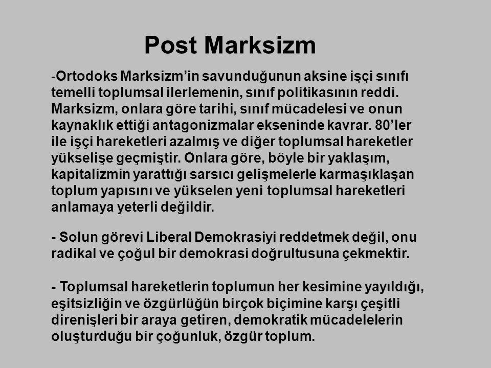 Post Marksizm -Ortodoks Marksizm'in savunduğunun aksine işçi sınıfı temelli toplumsal ilerlemenin, sınıf politikasının reddi. Marksizm, onlara göre ta