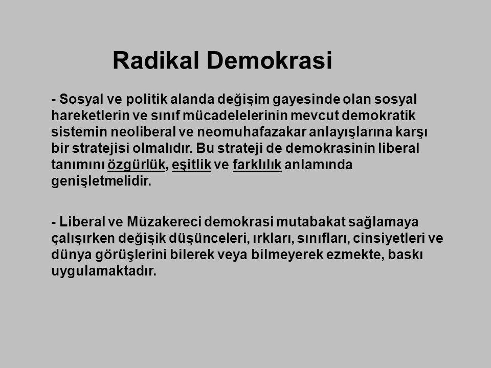 Radikal Demokrasi - Sosyal ve politik alanda değişim gayesinde olan sosyal hareketlerin ve sınıf mücadelelerinin mevcut demokratik sistemin neoliberal