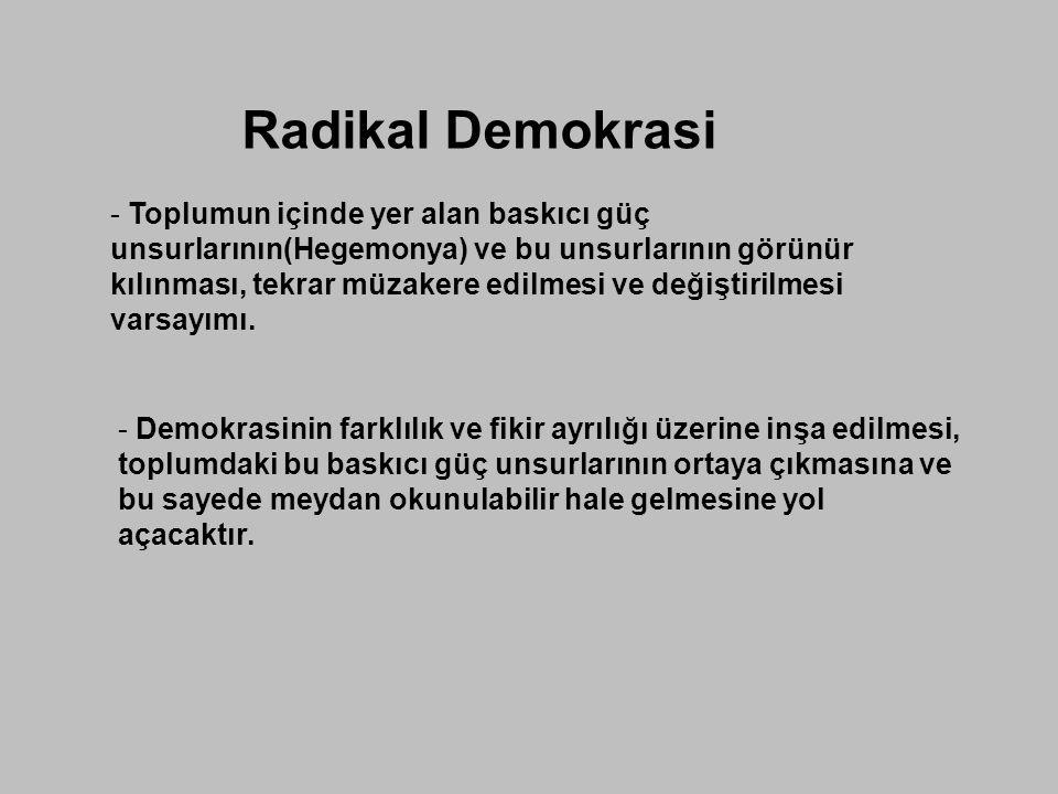 Radikal Demokrasi - Toplumun içinde yer alan baskıcı güç unsurlarının(Hegemonya) ve bu unsurlarının görünür kılınması, tekrar müzakere edilmesi ve değ