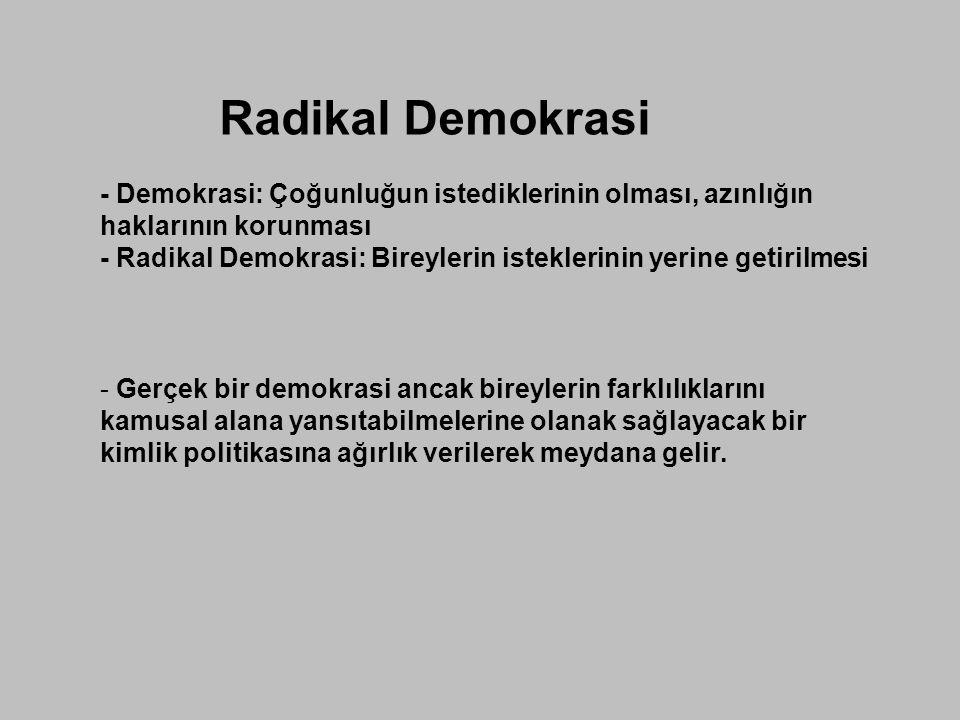 Radikal Demokrasi - Demokrasi: Çoğunluğun istediklerinin olması, azınlığın haklarının korunması - Radikal Demokrasi: Bireylerin isteklerinin yerine ge