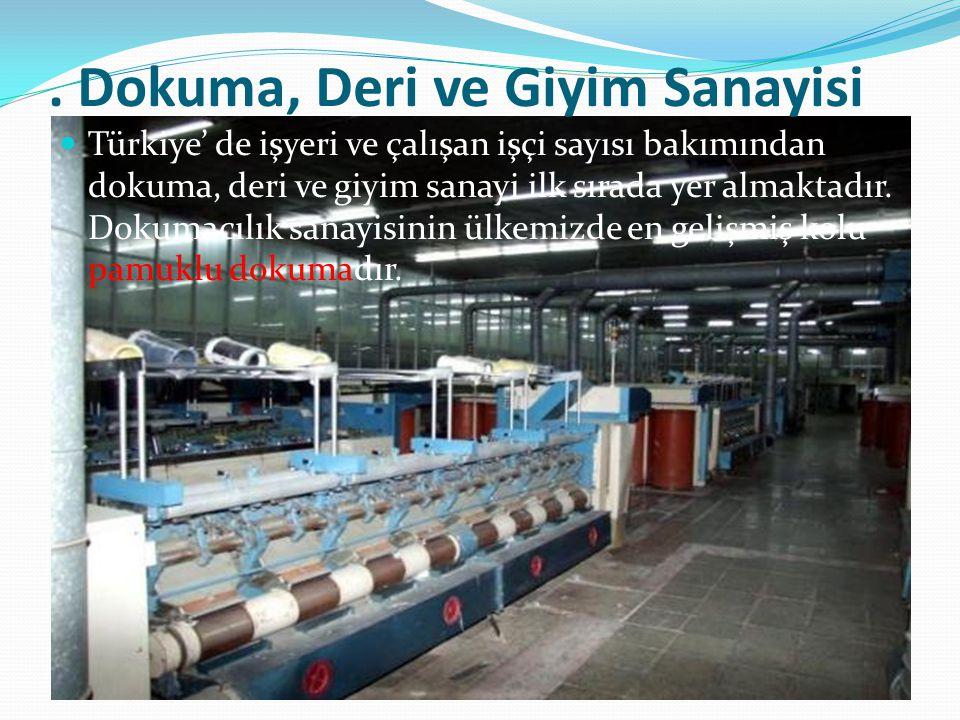 . Dokuma, Deri ve Giyim Sanayisi Türkiye' de işyeri ve çalışan işçi sayısı bakımından dokuma, deri ve giyim sanayi ilk sırada yer almaktadır. Dokumacı