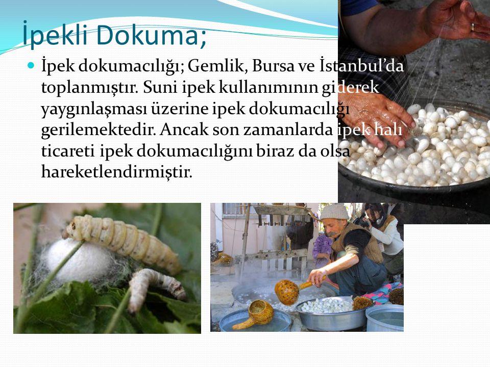 İpekli Dokuma; İpek dokumacılığı; Gemlik, Bursa ve İstanbul'da toplanmıştır. Suni ipek kullanımının giderek yaygınlaşması üzerine ipek dokumacılığı ge