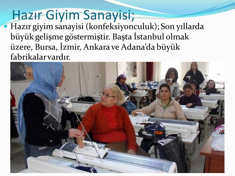 Hazır Giyim Sanayisi; Hazır giyim sanayisi (konfeksiyonculuk); Son yıllarda büyük gelişme göstermiştir. Başta İstanbul olmak üzere, Bursa, İzmir, Anka