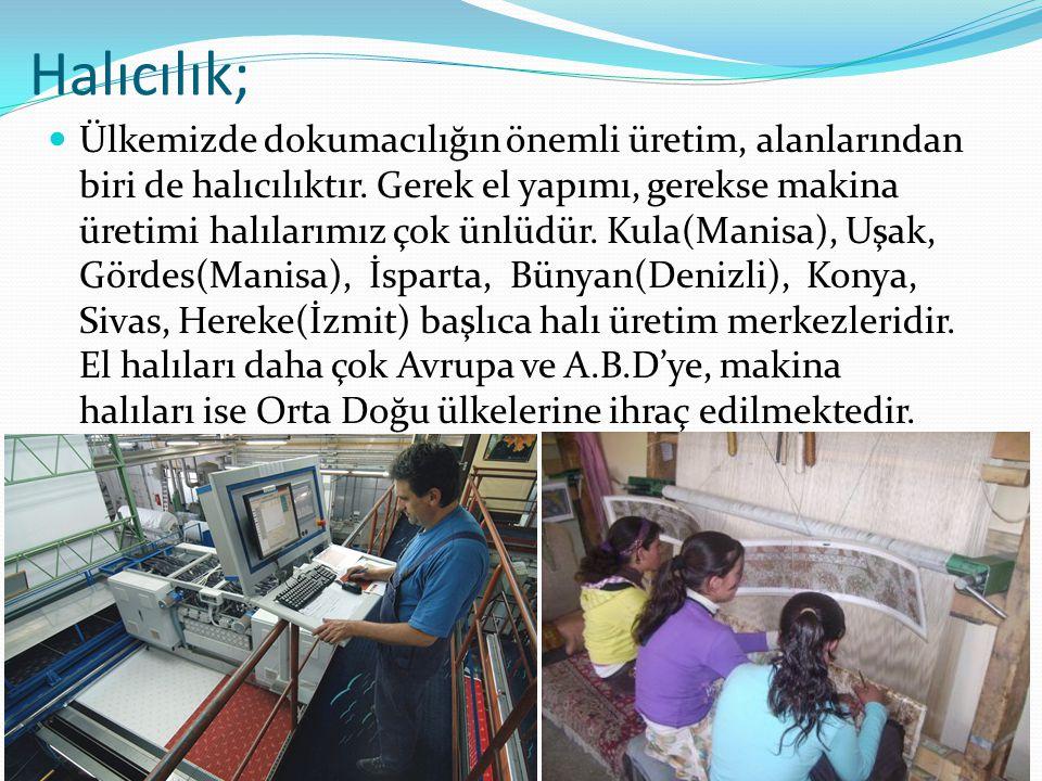 Halıcılık; Ülkemizde dokumacılığın önemli üretim, alanlarından biri de halıcılıktır. Gerek el yapımı, gerekse makina üretimi halılarımız çok ünlüdür.