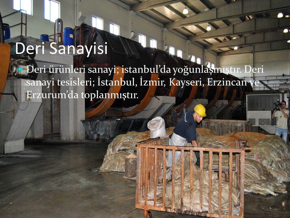 Deri Sanayisi Deri ürünleri sanayi; istanbul'da yoğunlaşmıştır. Deri sanayi tesisleri; İstanbul, İzmir, Kayseri, Erzincan ve Erzurum'da toplanmıştır.