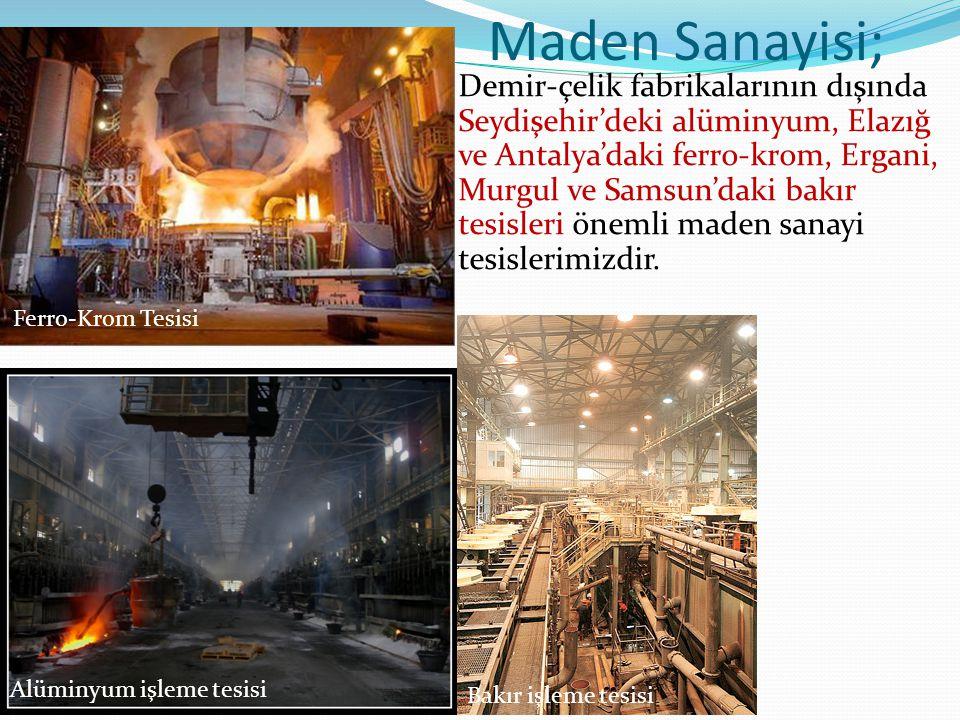 Maden Sanayisi; Demir-çelik fabrikalarının dışında Seydişehir'deki alüminyum, Elazığ ve Antalya'daki ferro-krom, Ergani, Murgul ve Samsun'daki bakır tesisleri önemli maden sanayi tesislerimizdir.