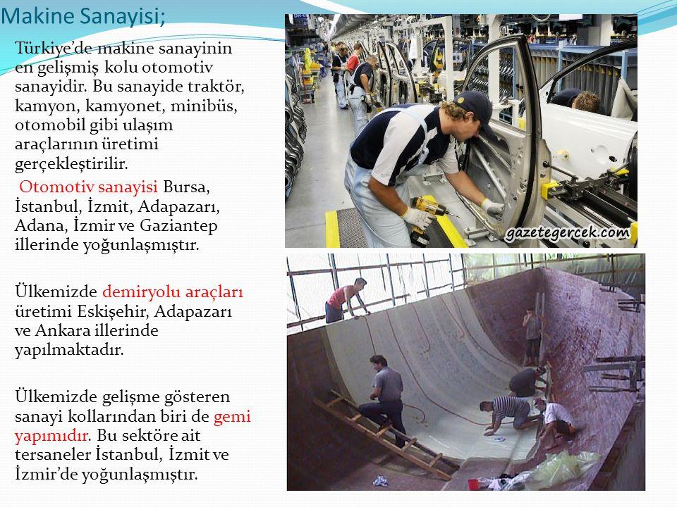 Makine Sanayisi; Türkiye'de makine sanayinin en gelişmiş kolu otomotiv sanayidir. Bu sanayide traktör, kamyon, kamyonet, minibüs, otomobil gibi ulaşım
