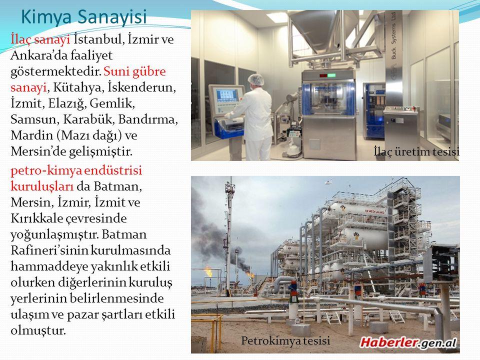 Kimya Sanayisi İlaç sanayi İstanbul, İzmir ve Ankara'da faaliyet göstermektedir. Suni gübre sanayi, Kütahya, İskenderun, İzmit, Elazığ, Gemlik, Samsun