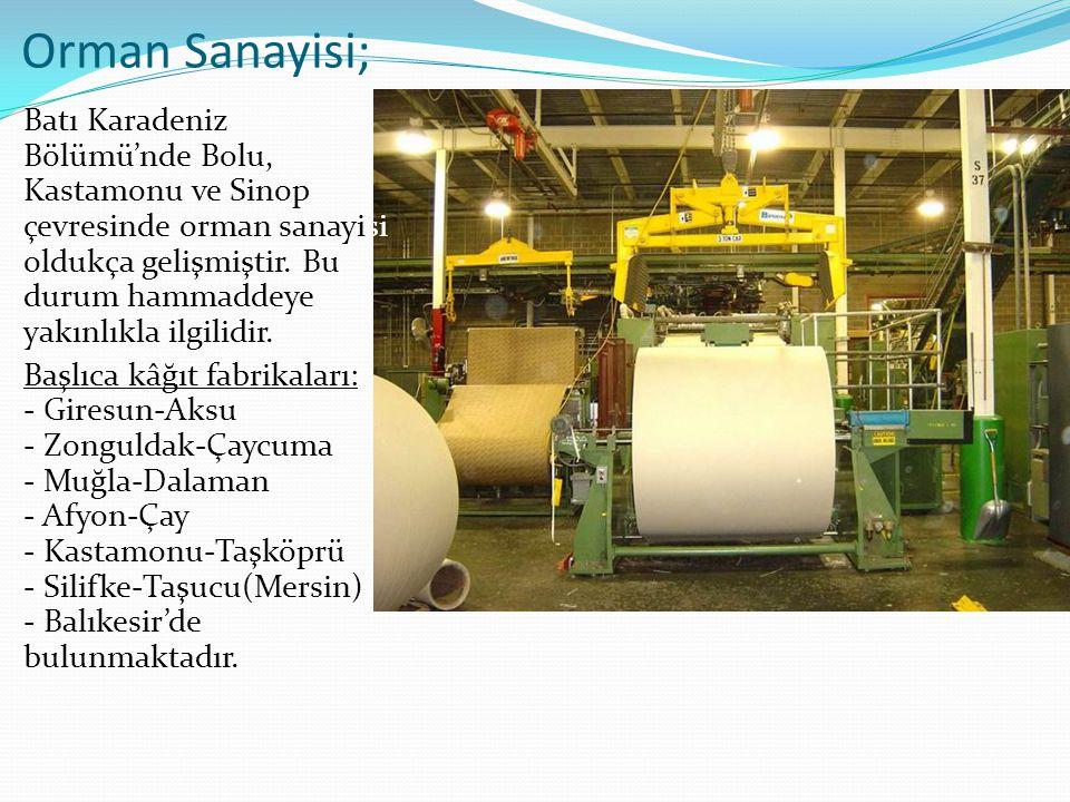 Orman Sanayisi; Batı Karadeniz Bölümü'nde Bolu, Kastamonu ve Sinop çevresinde orman sanayisi oldukça gelişmiştir.