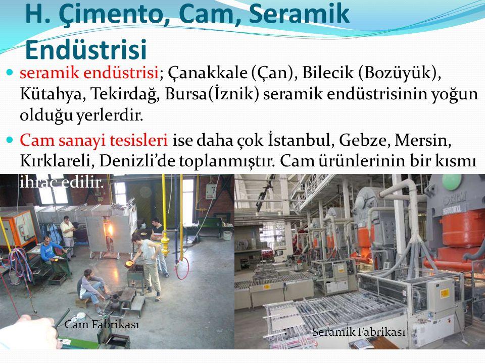 H. Çimento, Cam, Seramik Endüstrisi seramik endüstrisi; Çanakkale (Çan), Bilecik (Bozüyük), Kütahya, Tekirdağ, Bursa(İznik) seramik endüstrisinin yoğu