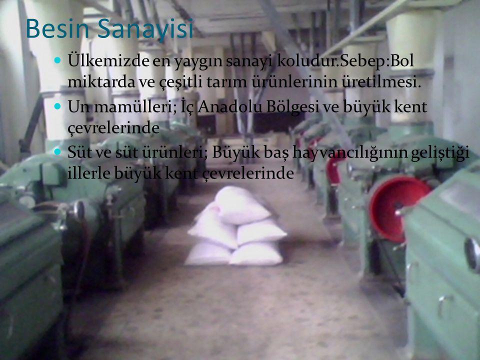 Besin Sanayisi Ülkemizde en yaygın sanayi koludur.Sebep:Bol miktarda ve çeşitli tarım ürünlerinin üretilmesi.
