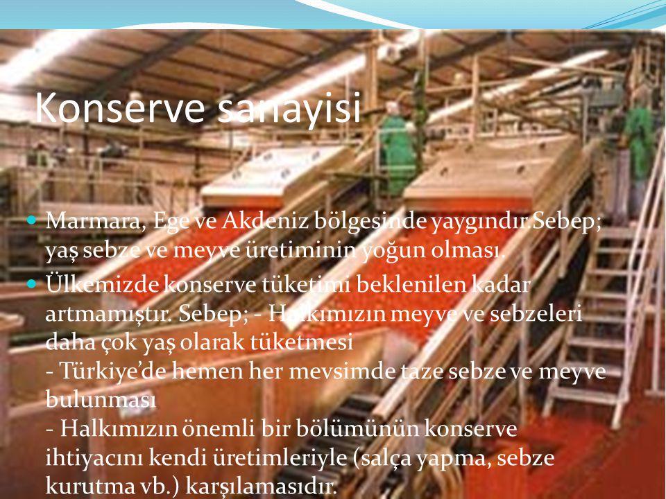 Konserve sanayisi Marmara, Ege ve Akdeniz bölgesinde yaygındır.Sebep; yaş sebze ve meyve üretiminin yoğun olması.