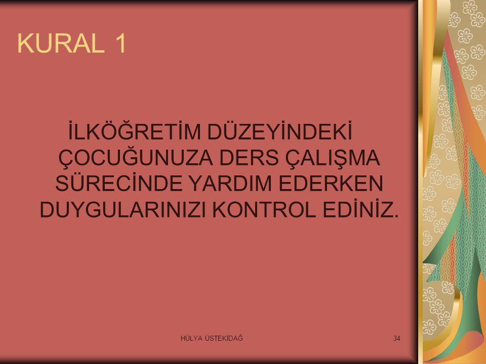 HÜLYA ÜSTEKİDAĞ34 KURAL 1 İLKÖĞRETİM DÜZEYİNDEKİ ÇOCUĞUNUZA DERS ÇALIŞMA SÜRECİNDE YARDIM EDERKEN DUYGULARINIZI KONTROL EDİNİZ.