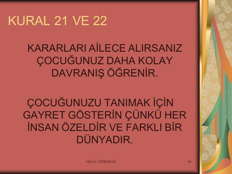 HÜLYA ÜSTEKİDAĞ48 KURAL 21 VE 22 KARARLARI AİLECE ALIRSANIZ ÇOCUĞUNUZ DAHA KOLAY DAVRANIŞ ÖĞRENİR.