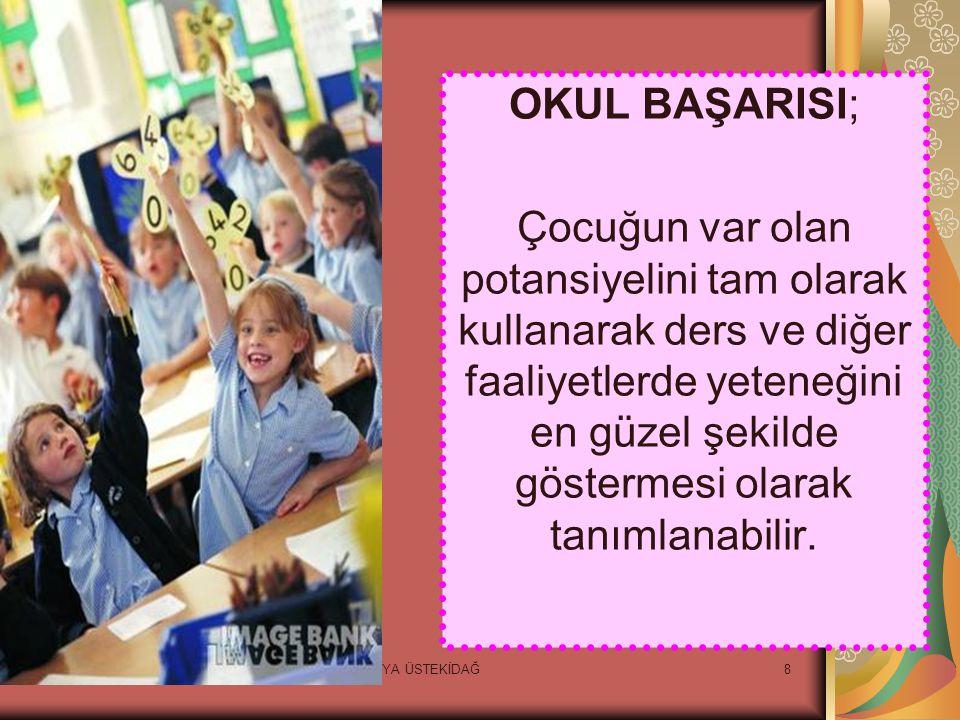 8 OKUL BAŞARISI; Çocuğun var olan potansiyelini tam olarak kullanarak ders ve diğer faaliyetlerde yeteneğini en güzel şekilde göstermesi olarak tanımlanabilir.