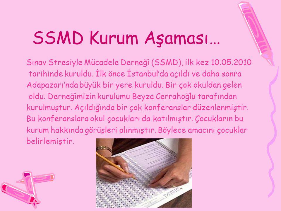 SSMD Kurum Aşaması… Sınav Stresiyle Mücadele Derneği (SSMD), ilk kez 10.05.2010 tarihinde kuruldu.