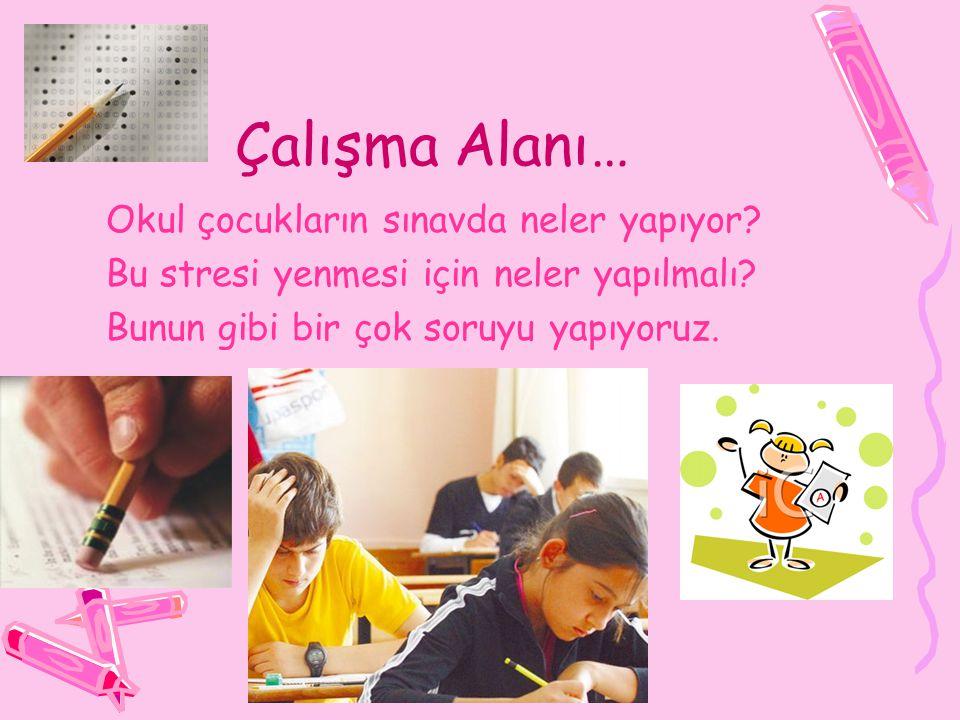 Çalışma Alanı… Okul çocukların sınavda neler yapıyor.