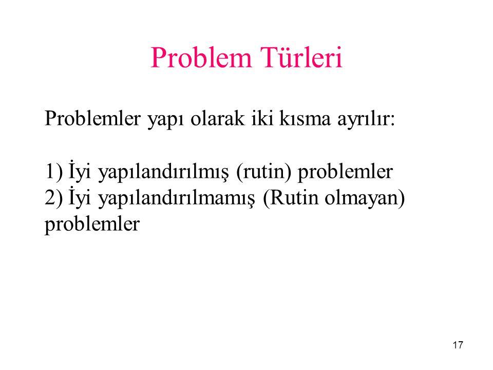 17 Problem Türleri Problemler yapı olarak iki kısma ayrılır: 1) İyi yapılandırılmış (rutin) problemler 2) İyi yapılandırılmamış (Rutin olmayan) proble