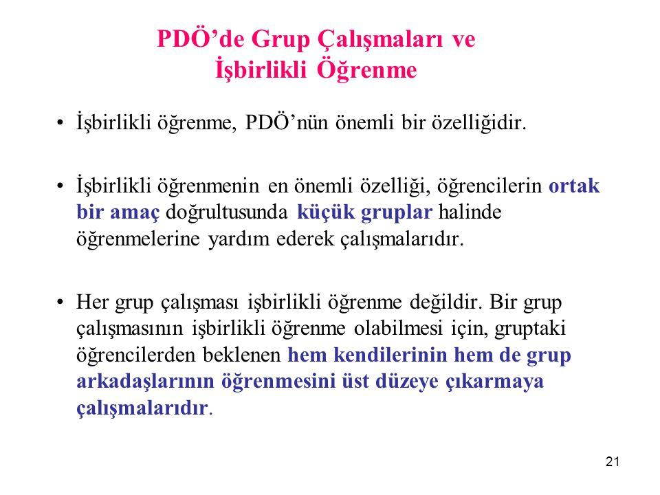 21 PDÖ'de Grup Çalışmaları ve İşbirlikli Öğrenme İşbirlikli öğrenme, PDÖ'nün önemli bir özelliğidir. İşbirlikli öğrenmenin en önemli özelliği, öğrenci
