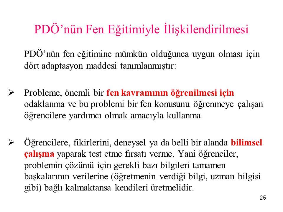 25 PDÖ'nün Fen Eğitimiyle İlişkilendirilmesi PDÖ'nün fen eğitimine mümkün olduğunca uygun olması için dört adaptasyon maddesi tanımlanmıştır:  Proble
