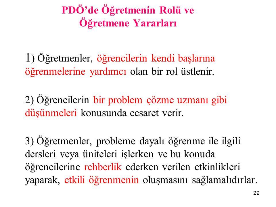 29 PDÖ'de Öğretmenin Rolü ve Öğretmene Yararları 1 ) Öğretmenler, öğrencilerin kendi başlarına öğrenmelerine yardımcı olan bir rol üstlenir. 2) Öğrenc