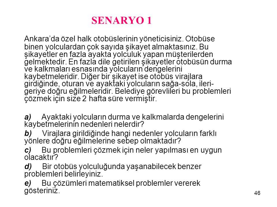 46 SENARYO 1 Ankara'da özel halk otobüslerinin yöneticisiniz. Otobüse binen yolculardan çok sayıda şikayet almaktasınız. Bu şikayetler en fazla ayakta