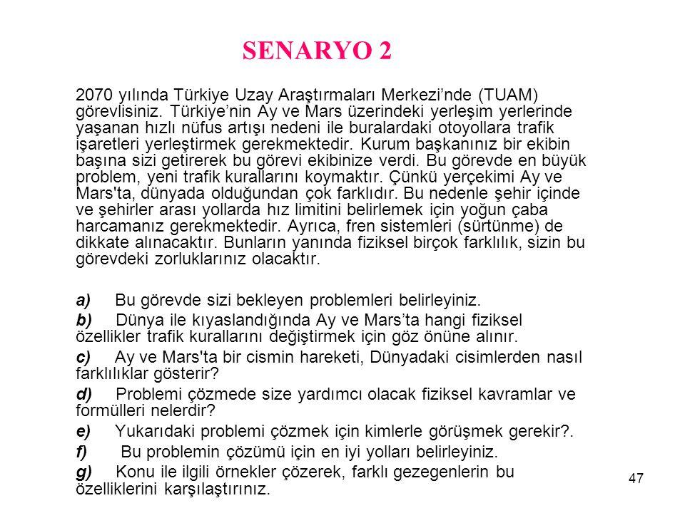 47 SENARYO 2 2070 yılında Türkiye Uzay Araştırmaları Merkezi'nde (TUAM) görevlisiniz. Türkiye'nin Ay ve Mars üzerindeki yerleşim yerlerinde yaşanan hı
