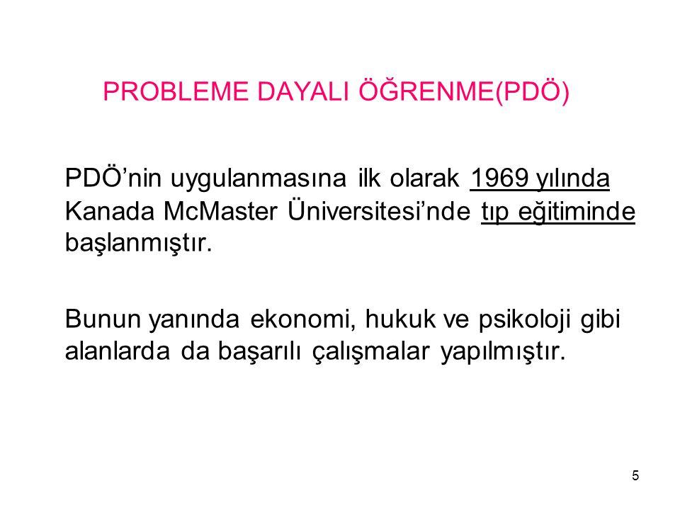 5 PROBLEME DAYALI ÖĞRENME(PDÖ) PDÖ'nin uygulanmasına ilk olarak 1969 yılında Kanada McMaster Üniversitesi'nde tıp eğitiminde başlanmıştır. Bunun yanın