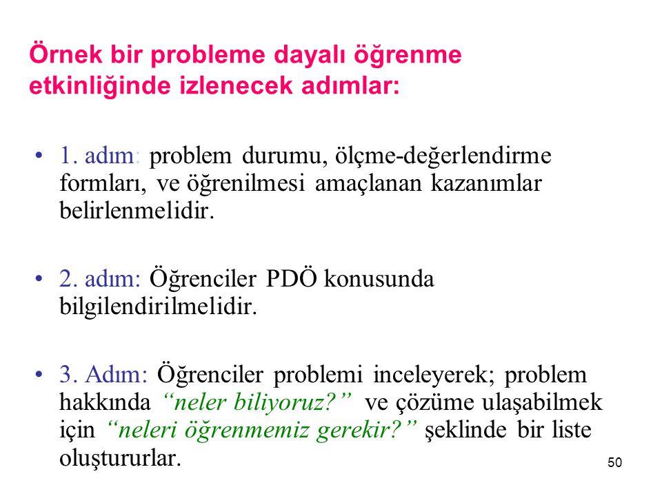 50 Örnek bir probleme dayalı öğrenme etkinliğinde izlenecek adımlar: 1. adım: problem durumu, ölçme-değerlendirme formları, ve öğrenilmesi amaçlanan k