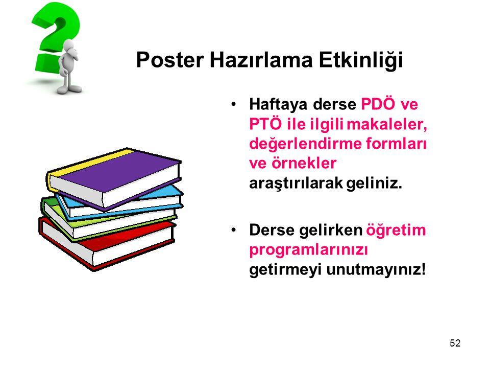 52 Poster Hazırlama Etkinliği Haftaya derse PDÖ ve PTÖ ile ilgili makaleler, değerlendirme formları ve örnekler araştırılarak geliniz. Derse gelirken