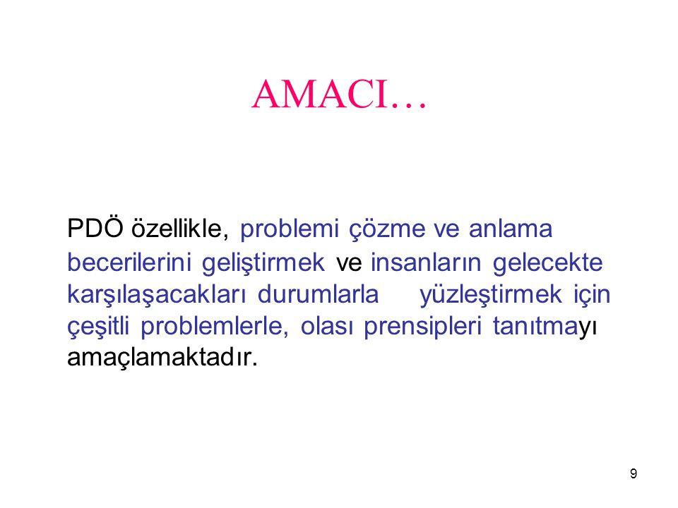 9 AMACI… PDÖ özellikle, problemi çözme ve anlama becerilerini geliştirmek ve insanların gelecekte karşılaşacakları durumlarla yüzleştirmek için çeşitl
