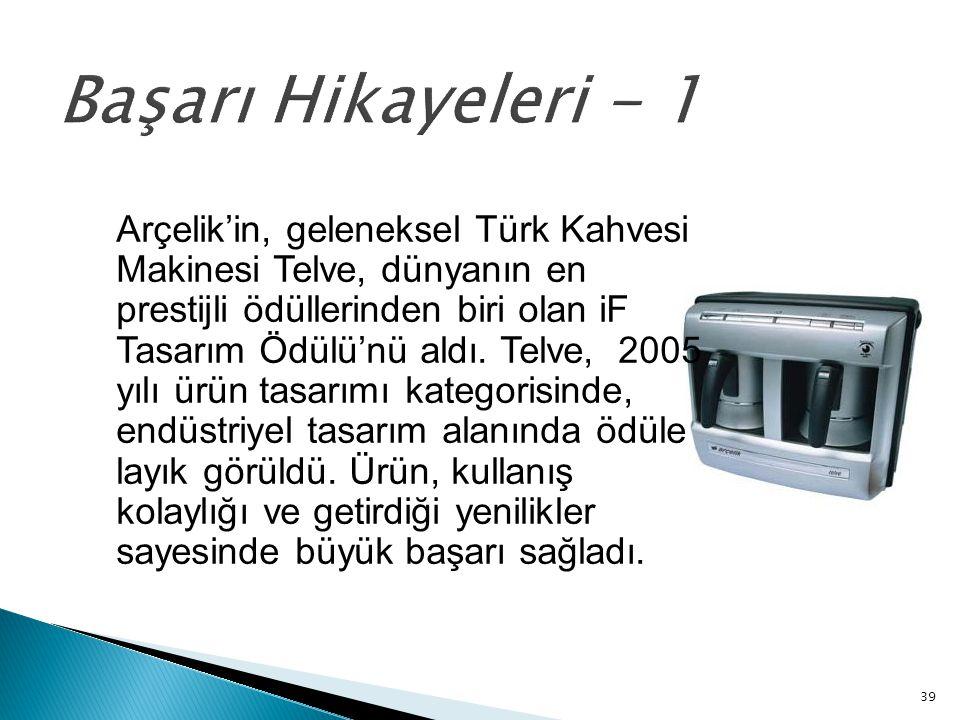 39 Başarı Hikayeleri - 1 Arçelik'in, geleneksel Türk Kahvesi Makinesi Telve, dünyanın en prestijli ödüllerinden biri olan iF Tasarım Ödülü'nü aldı. Te