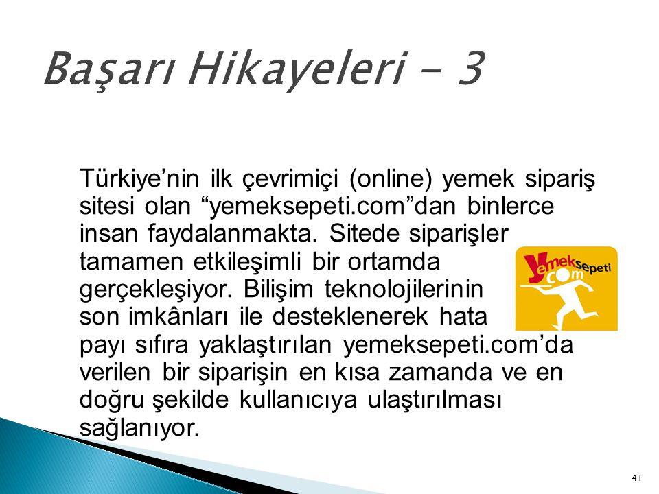 """41 Başarı Hikayeleri - 3 Türkiye'nin ilk çevrimiçi (online) yemek sipariş sitesi olan """"yemeksepeti.com""""dan binlerce insan faydalanmakta. Sitede sipari"""