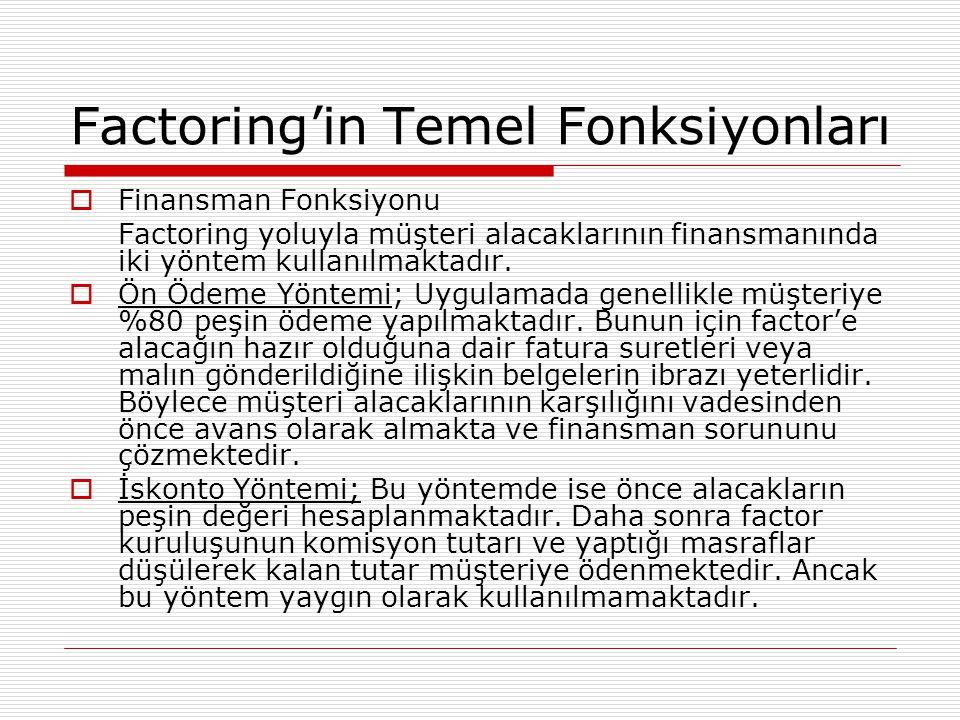 Factoring'in Temel Fonksiyonları  Finansman Fonksiyonu Factoring yoluyla müşteri alacaklarının finansmanında iki yöntem kullanılmaktadır.  Ön Ödeme