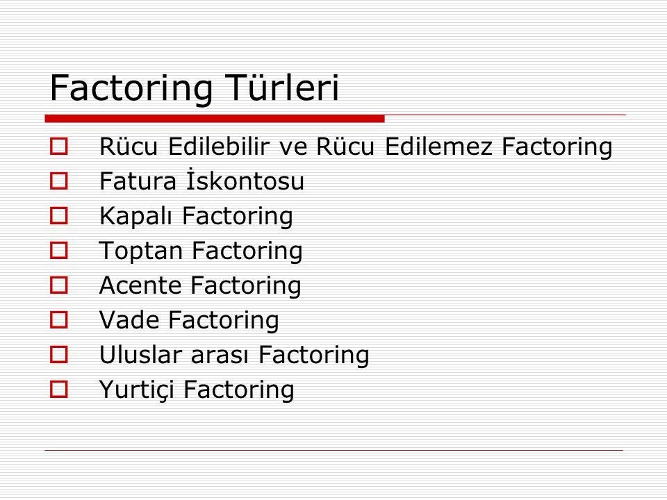 Factoring Türleri  Rücu Edilebilir ve Rücu Edilemez Factoring  Fatura İskontosu  Kapalı Factoring  Toptan Factoring  Acente Factoring  Vade Fact