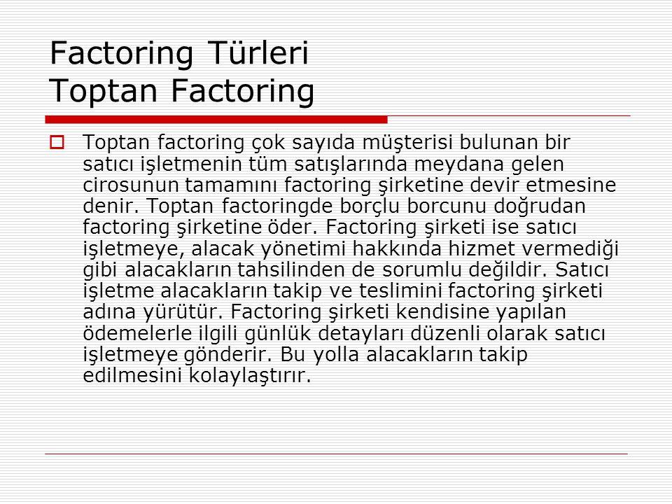 Factoring Türleri Toptan Factoring  Toptan factoring çok sayıda müşterisi bulunan bir satıcı işletmenin tüm satışlarında meydana gelen cirosunun tama