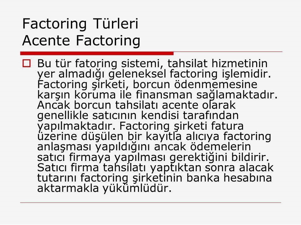 Factoring Türleri Acente Factoring  Bu tür fatoring sistemi, tahsilat hizmetinin yer almadığı geleneksel factoring işlemidir. Factoring şirketi, borc