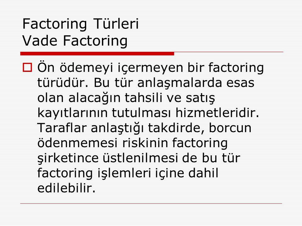Factoring Türleri Vade Factoring  Ön ödemeyi içermeyen bir factoring türüdür. Bu tür anlaşmalarda esas olan alacağın tahsili ve satış kayıtlarının tu