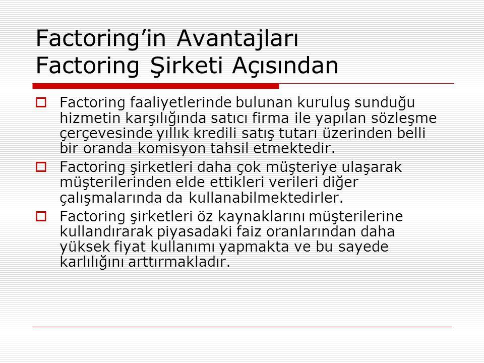 Factoring'in Avantajları Factoring Şirketi Açısından  Factoring faaliyetlerinde bulunan kuruluş sunduğu hizmetin karşılığında satıcı firma ile yapıla